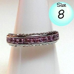 Ring Size 8 Simulated Diamond Pink Topaz 208
